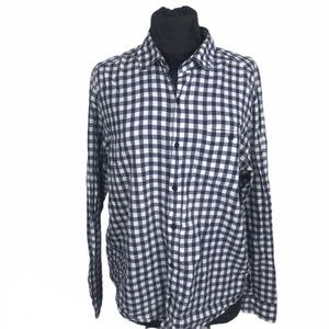 Horny Toad Navy Blue & White Checkered Button Down